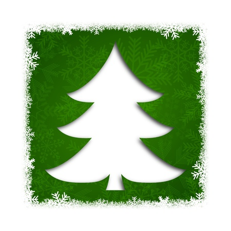 green christmas background with christmas tree photo