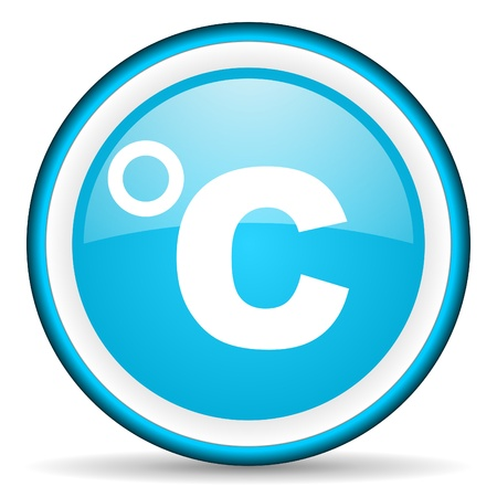 celsius blue glossy icon on white background photo