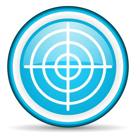 target blue glossy icon on white background Stock Photo - 17040069