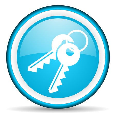 keys blue glossy icon on white background photo