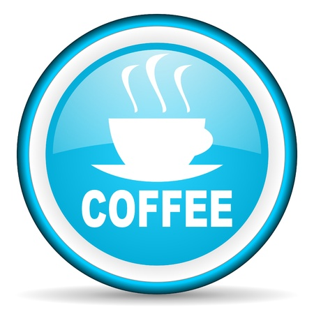 coffee blue glossy icon on white background photo