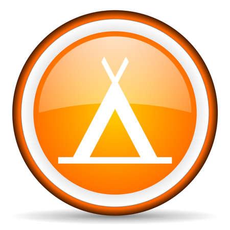 camping orange glossy icon on white background photo