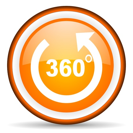 360 degrees panorama orange glossy icon on white background photo