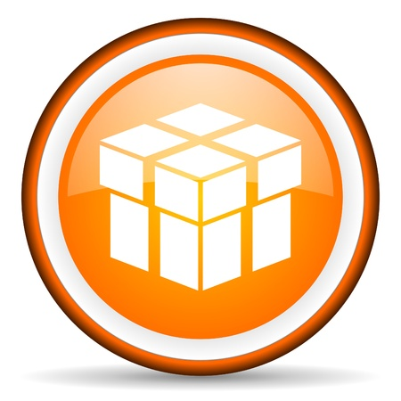 box orange glossy icon on white background Stock Photo - 17065996