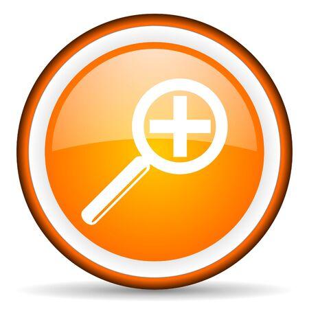 magnification orange glossy icon on white background Stock Photo - 17065993