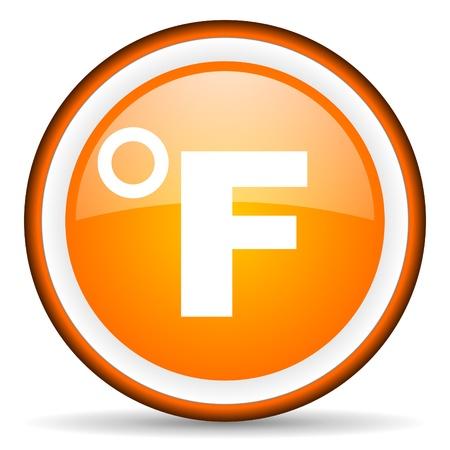 fahrenheit: fahrenheit icono de color naranja brillante sobre fondo blanco