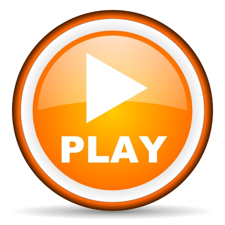 play orange glossy icon on white background Stock Photo - 17065705