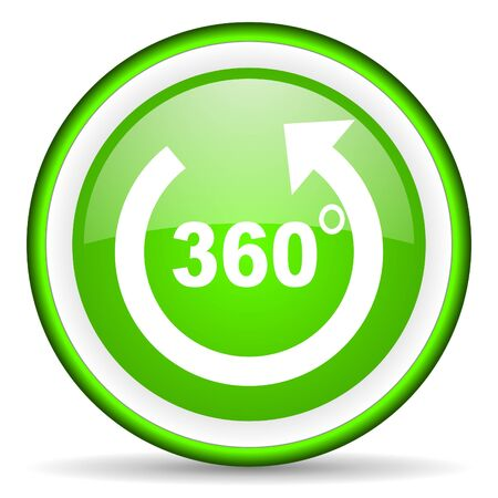 360 degrees panorama green glossy icon on white background photo