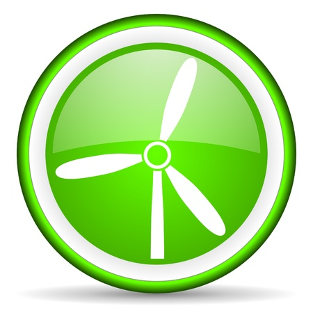 windmill green glossy icon on white background Stock Photo - 17066004