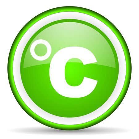 celsius green glossy icon on white background Stock Photo - 17065707