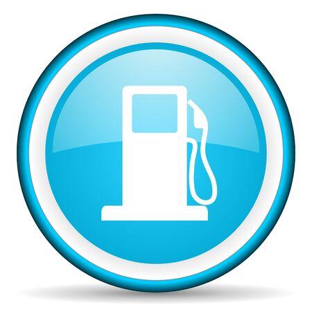 bio diesel: fuel blue glossy icon on white background