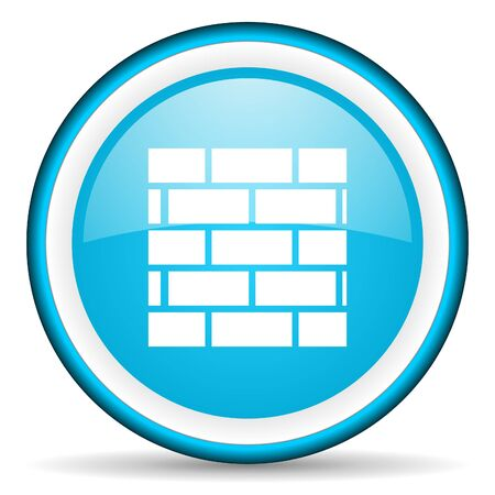 firewall blue glossy icon on white background Stock Photo - 17066222