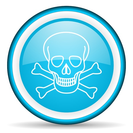 skull blue glossy icon on white background Stock Photo - 17066707