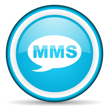 mms blue glossy icon on white background Stock Photo - 17066368