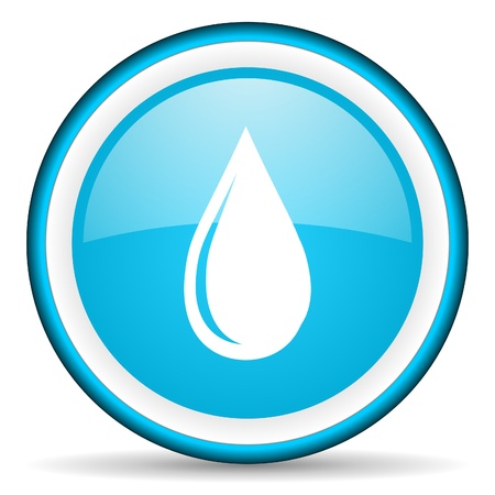 water drop blue glossy icon on white background photo