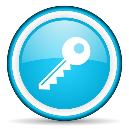 key blue glossy icon on white background Stock Photo - 17066168