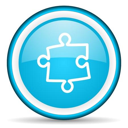 puzzle blue glossy icon on white background photo