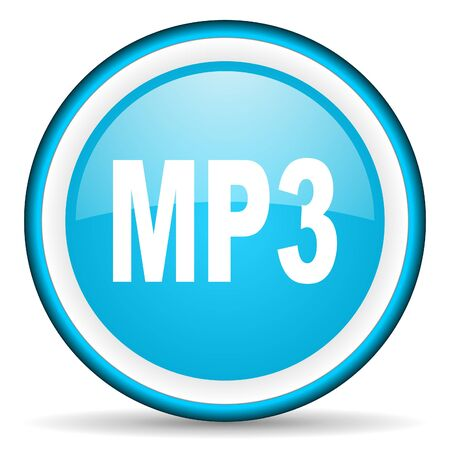 mp3 blue glossy icon on white background photo