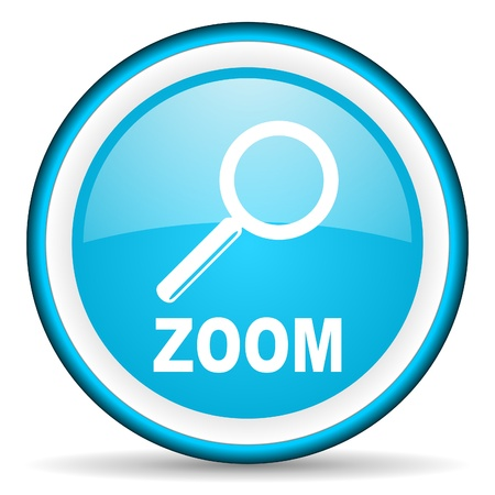 zoom blue glossy icon on white background Stock Photo - 17066457