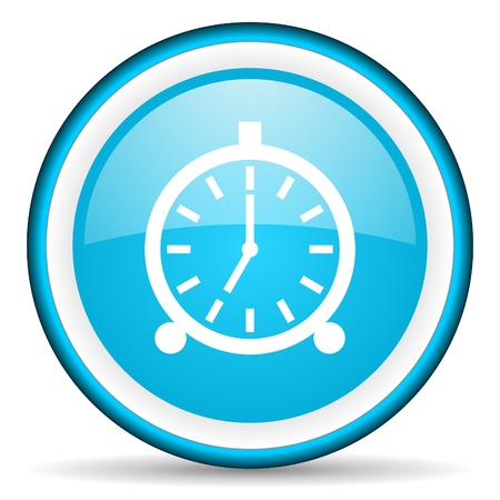 alarm clock blue glossy icon on white background photo
