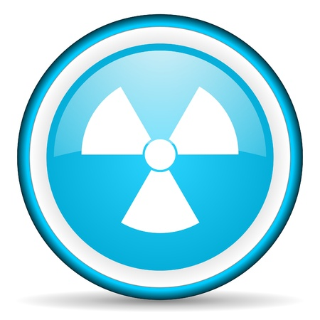 radiation blue glossy icon on white background Stock Photo - 17066134