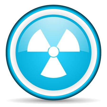 radiation blue glossy icon on white background Stock Photo - 17066134