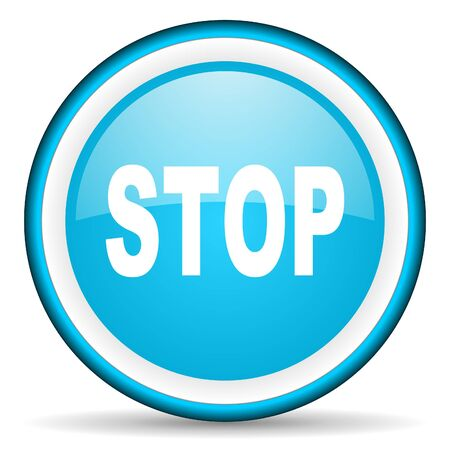 stop blue glossy icon on white background Stock Photo - 17066244