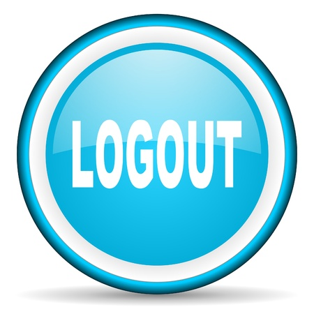 logout blue glossy icon on white background Stock Photo - 17066383