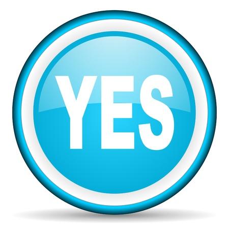yes blue glossy icon on white background Stock Photo - 17066214