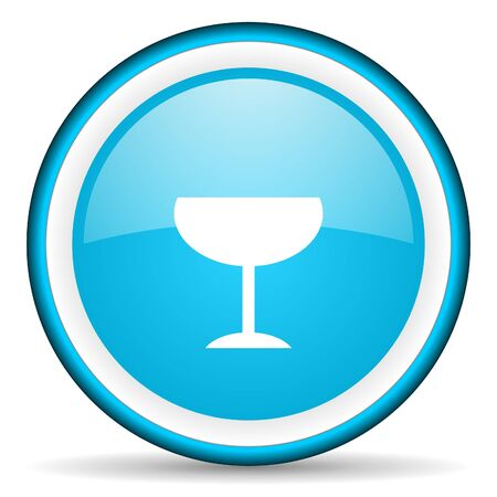 champain: glass blue glossy icon on white background Stock Photo