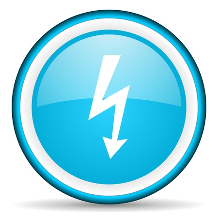 lightning blue glossy icon on white background photo
