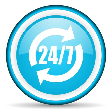 247 service blue glossy icon on white background photo