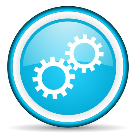 option key: gears blue glossy icon on white background