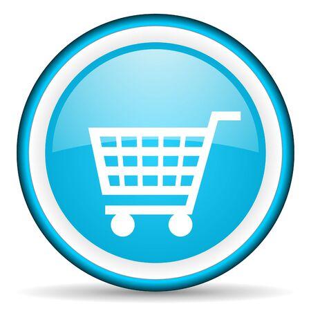 shopping cart blue glossy icon on white background photo