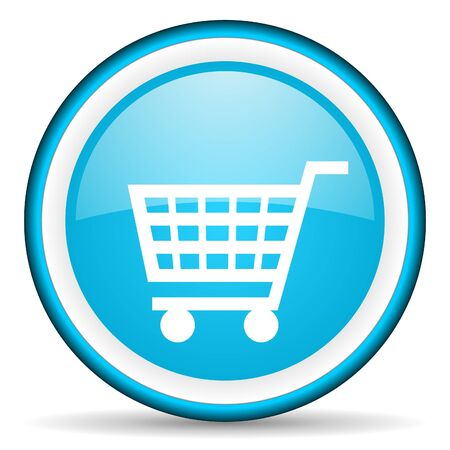 add to shopping cart icon: shopping cart blue glossy icon on white background
