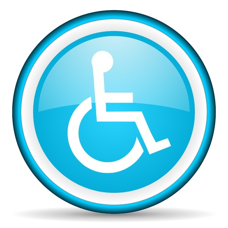accessibility: accessibility blue glossy icon on white background