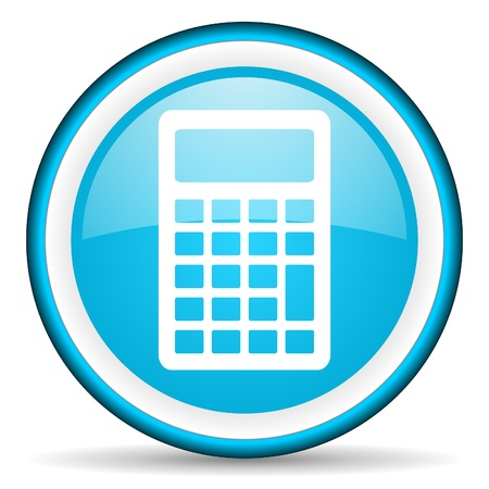 calculator blue glossy icon on white background Stock Photo - 17066415