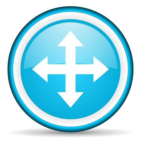 move arrow blue glossy icon on white background Stock Photo - 17066196