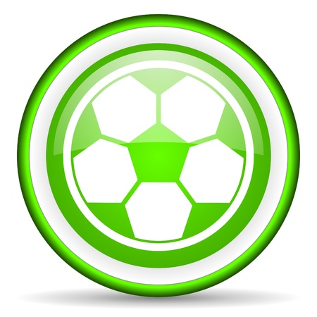 soccer green glossy icon on white background Stock Photo - 17066708