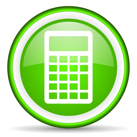 calculator green glossy icon on white background Stock Photo - 17066646