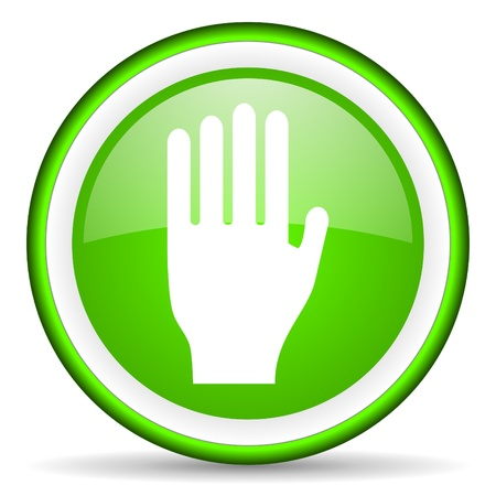 stop green glossy icon on white background Stock Photo - 17066533