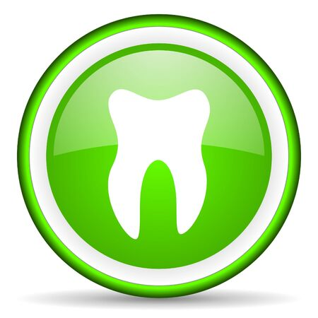 tooth green glossy icon on white background photo