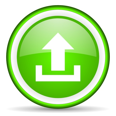 upload green glossy icon on white background photo