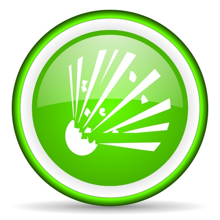 bomb green glossy icon on white background photo