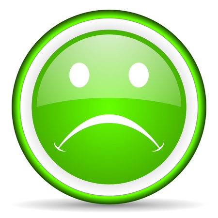 cry green glossy icon on white background Stock Photo - 17066617
