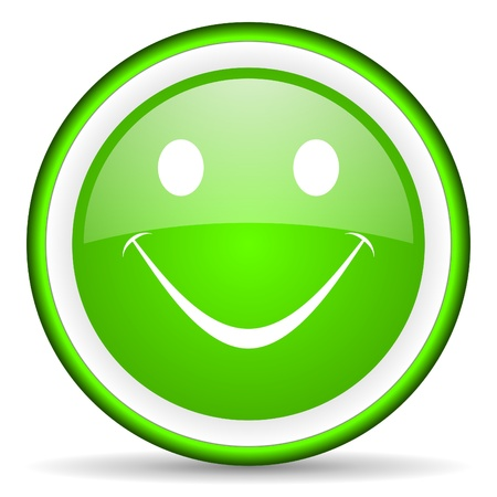 smile green glossy icon on white background Stock Photo - 17066634