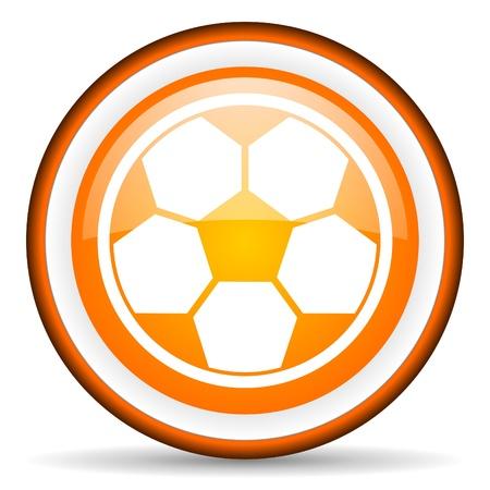 soccer orange glossy icon on white background Stock Photo - 17066698