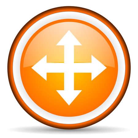 move arrow orange glossy icon on white background Stock Photo - 17066574