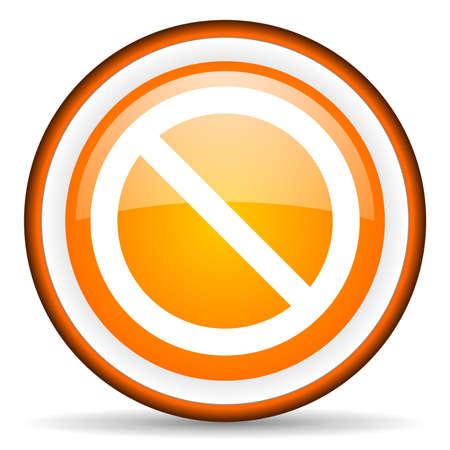 access denied orange glossy icon on white background Stock Photo - 17066636