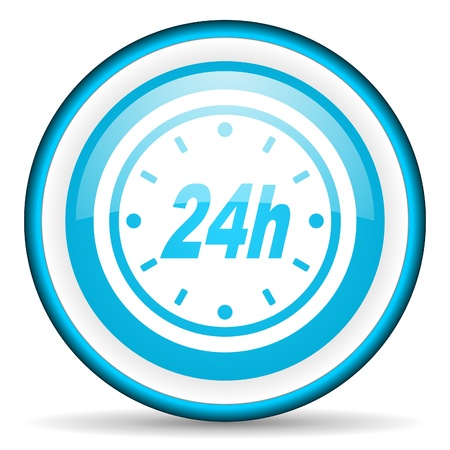 24h blue glossy icon on white background Stock Photo - 17066596
